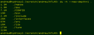 example output of du UNIX command